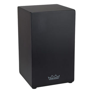 remo crown percussion fixed face plate cajon - black with quick wedge snares