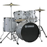 "yamaha gigmaker 5 piece drum set with hardware and 22"" bass drum - silver glitter (used demo)"