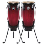 "meinl headliner series wood conga sets with stands and free matching bongos - 10"" and 11"""