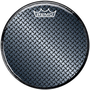 "remo 22"" diamond plate graphic resonate bass dum head"