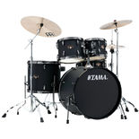 "tama imperialstar 5 piece drum set with black nickle hardware and meinl hcs cymbals - 22"" bass drum"