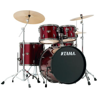"tama imperialstar 5-piece drum set with black nickel hardware and meinl hcs cymbals - 22"" bass drum"