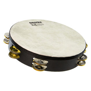 "grover 10"" sx double row tambourine - german silver and brass"
