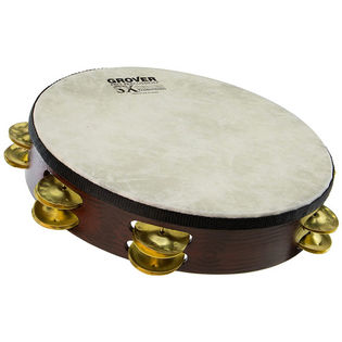 "grover 10"" sx plus double row tambourine - hammered brass"