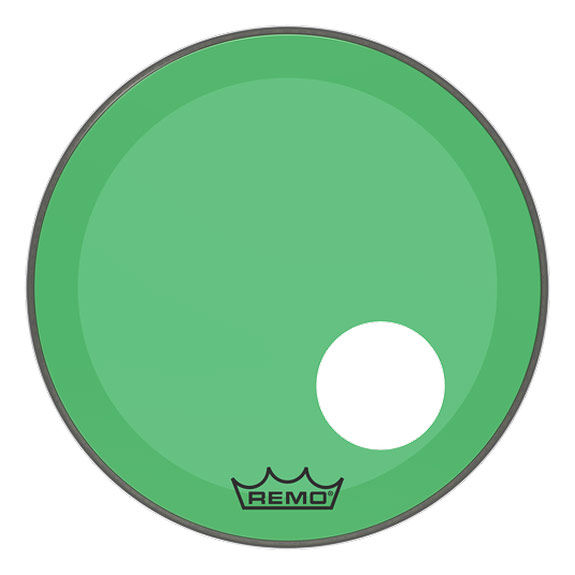 remo green colortone powerstroke p3 bass drum head with hole bass drum heads drum set drum. Black Bedroom Furniture Sets. Home Design Ideas