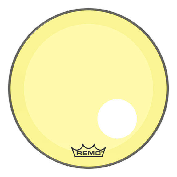 remo yellow colortone powerstroke p3 bass drum head with hole bass drum heads drum set drum. Black Bedroom Furniture Sets. Home Design Ideas