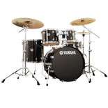 yamaha stage custom birch 5 piece drum set with hardware - raven black (used demo)