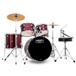 "mapex rebel complete jazz 5 piece drum set with hardware and cymbals - 20"" bass drum"