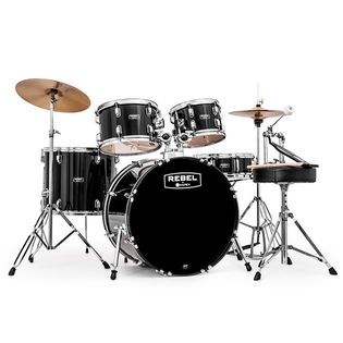 "mapex rebel complete sro 5 piece drum set with hardware and cymbals - 22"" bass drum"