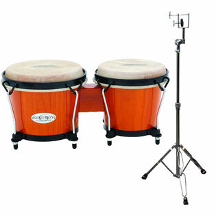 toca synergy wood bongos with stand - amber