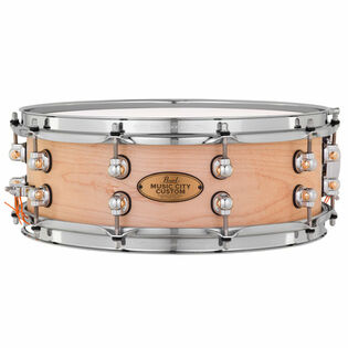 pearl music city custom solid maple natural finish snare drum - 14x5