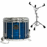 mapex 14x12 quantum xt marching snare drum blue ripple pearl finish with free s600 snare stand
