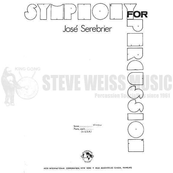 Fine Symphony For Percussion Parts Only By Jose Serebrier Percussion Wiring 101 Mecadwellnesstrialsorg