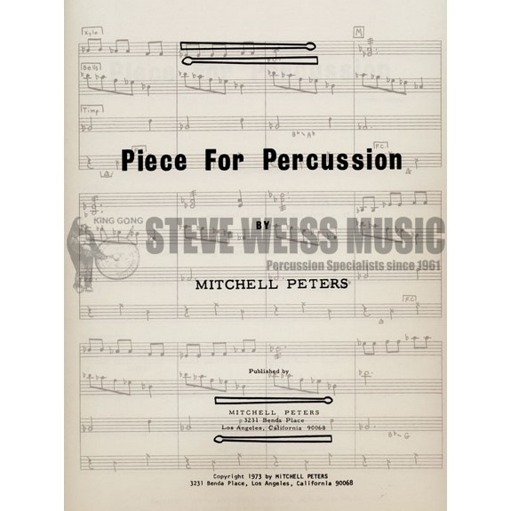 Peters-Piece for Percussion (SP)-P/X/B/3T | Percussion Ensemble ...