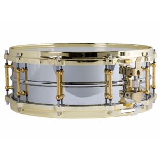 ludwig chrome plated brass snare drum with brass hardware - 14x5