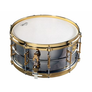 ludwig chrome plated brass snare drum (lb402bbtwm) - 14x6.5
