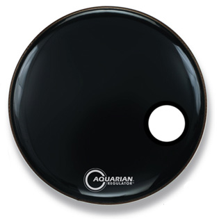 "aquarian regulator front bass drum head - black with 4.75"" hole"