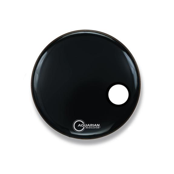 aquarian regulator front bass drum head black with hole bass drum heads drum set. Black Bedroom Furniture Sets. Home Design Ideas