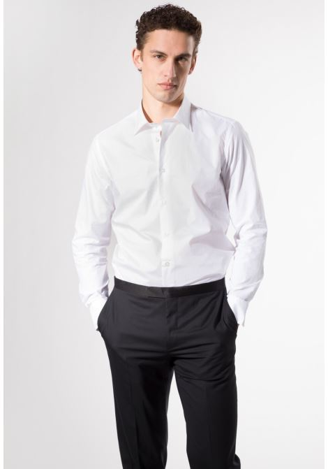 Camicia slim fit manica lunga cerimonia LANCETTI | 10000008 | 122RS34BIANCO