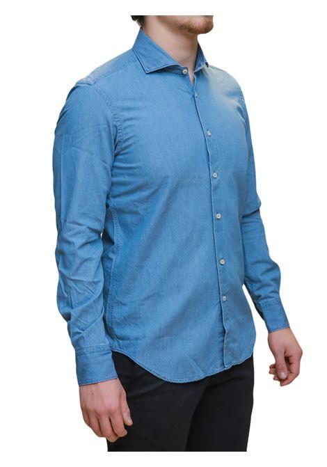 Camicia manica lunga in jeans custom fit ANTICHI CAMICIAI NAPOLI | 10000008 | TS0257CELESTE