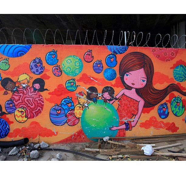 Detail of the work by @tozfbc in front of Maracanã/RJ that is today at the United Nation/Genebra