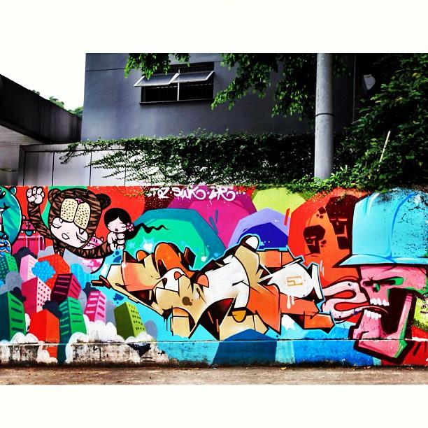 Wall by Graffiti artists @tozfbc @marcioswk @brfbc