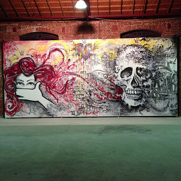 My piece at @festivalartrua , spray, krink and latex at wood. #spraypaint #latex #krink #freestyle #freehand #skull #caveira #heart #love #fear #mentone #marceloment #streetartrio #rjstreetart #rj #rio #riodejaneiro #artrua #graffiti #graffitilife #graffitilovers #graffitilegends #mentone #marceloment