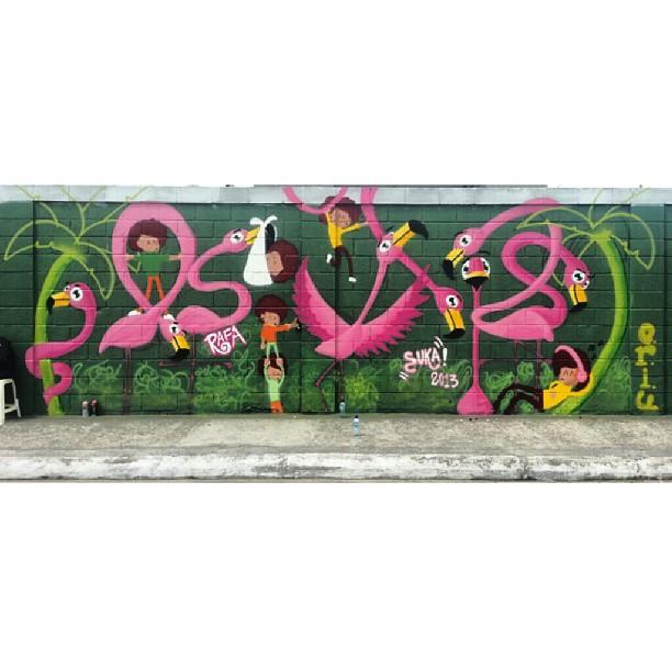 No mutirão da maré com @_sukaneves e @edupoley #mare #graffiti #graffrio #rafa #suka #CRIU #flamingo #streetartrio #tonoadorofarm #sukitas #rosa