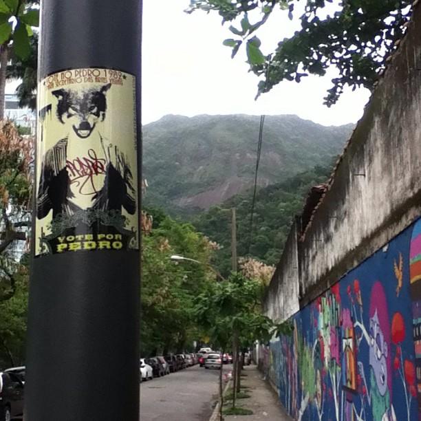 #voteforpedro #sticker up in #riodejaneiro Parque Lage Brazil. #petervanflores #slaps #streetartrio #lobo #stickers #stickerporn #stickerbomb #urbanart #streetart #rio #brazil #brasil #graffiti #art #wolf