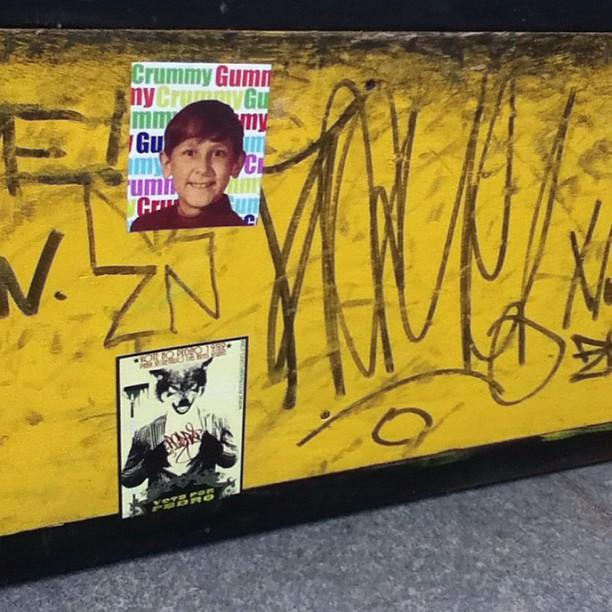 Chillin with the homie @crummygummy on a #skateboard ramp in the #praçaxv #riodejaneiro district. #slaps #sticker #stickers #streetart #streetartrio #urbanart #voteforpedro #crummygummy #petervanflores #graff #graffiti #brasil #brazil #rio #wolf #lobo