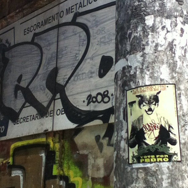 #voteforpedro sticker up in #Lapa #Rio right by a #brazil pioneer Eco. #sticker #stickers #slaps #graff #graffiti #stickerporn #streetart #streetartrio #urbanart #petervanflores #eco #brasil #riodejaneiro