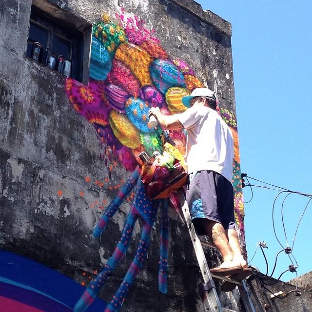 Foto da pintura de hj com meus amigos @tozfbc e @jankalab #streetartrio