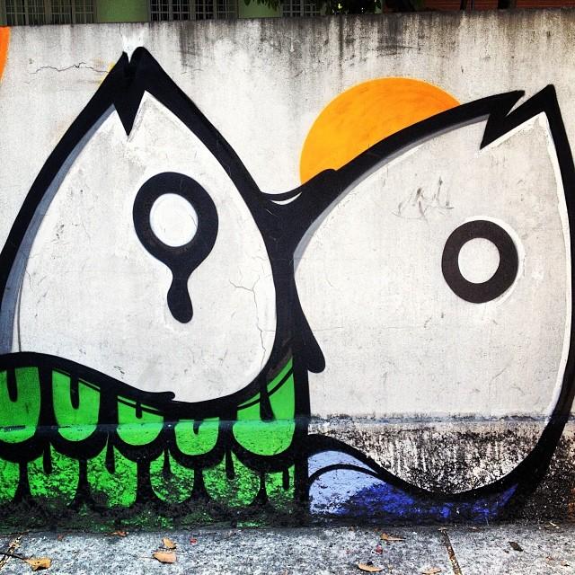Peixes! #grafite #graffrio #streetartrio #artelivre #murosdorio #lagoa #verão