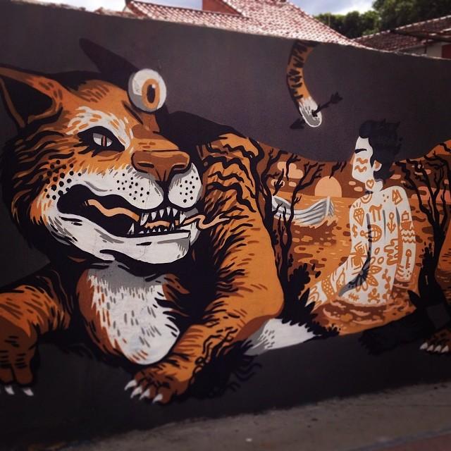 Nrvo! Tigre do @ecsuecsu e interior meu!  #nrvo #streetartrio #carvas #viniciuscarvas #tiger #pi #lifeofpi #aeg