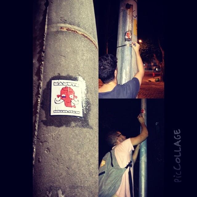 Deixando a arte fluir na noite... #rj #streetart #streetartrio #mamuteinsano #sticker