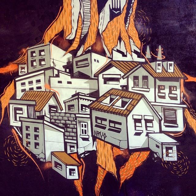Detalhe da pintura de domingo com meu irmão @gmemibr ! #graffiti #pintura #paint #streetartrio #streetart #riodejaneiro #brasil #betofame #fameone #fame #city #casas #nrvo