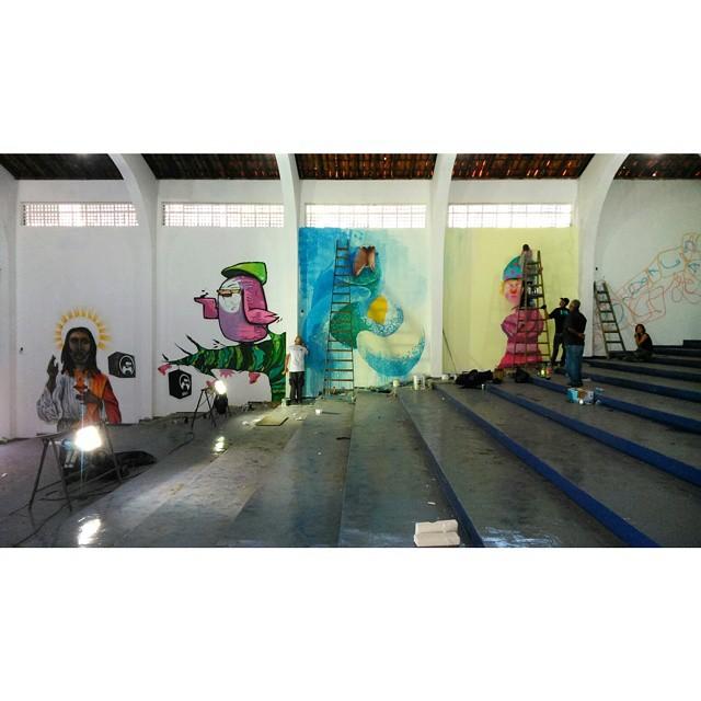 Dia 2, produção pesada pra finalizar. Degase, com @bivup, @viniciusspam, #Sini e #toquinho #degase #processo #streetartrio #streetartandgraffiti #galeriaaceuaberto #streeart #novecinco #heitorcorrea