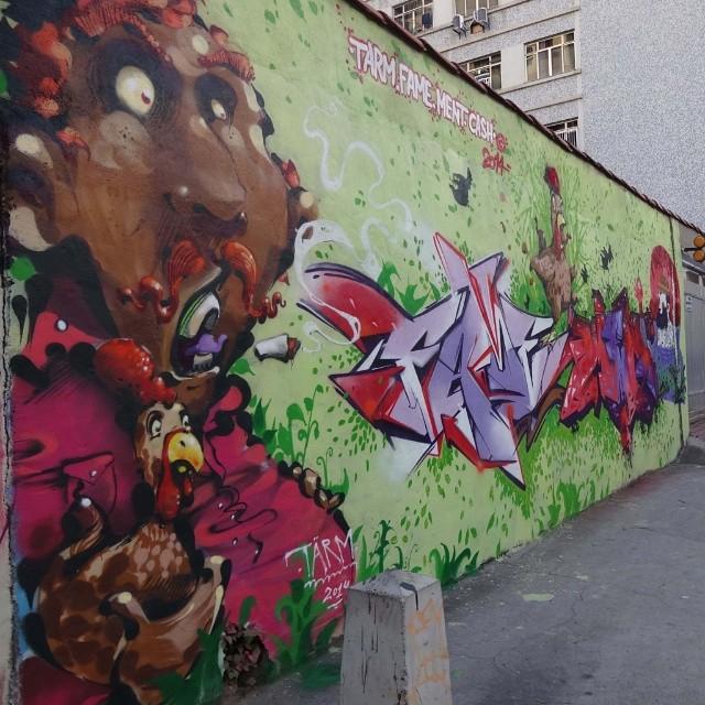 Graffiti wall by @tarm1 , @betofame , @marceloment and @viniciuscarvas . #NRVO #riostreetart #streetartrio #urbanart #graffitiart #streetart #artederua #arteurbana #graffitibrasil #riodejaneiro