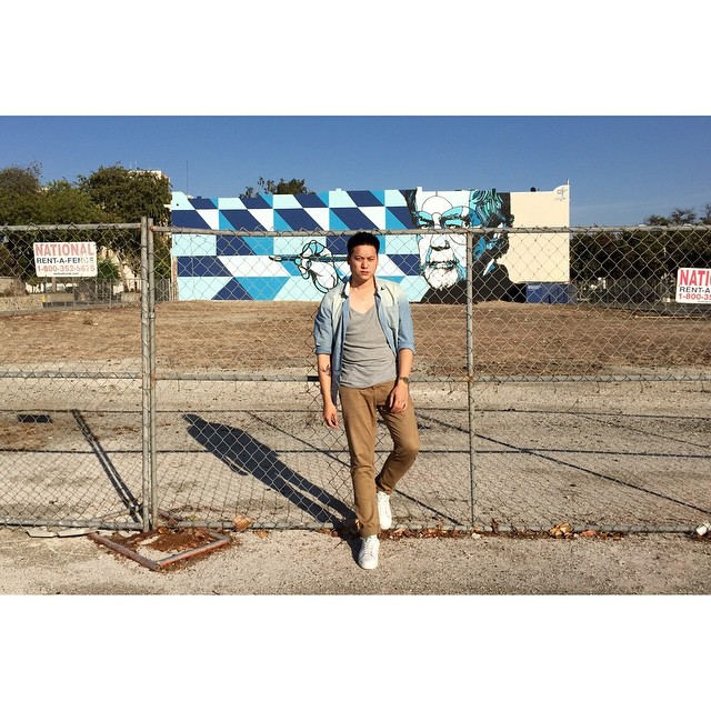 Backdrop: 'Karl Benjamin' by David P. Flores, in the heart of the Pomona art district, Cali. #mural