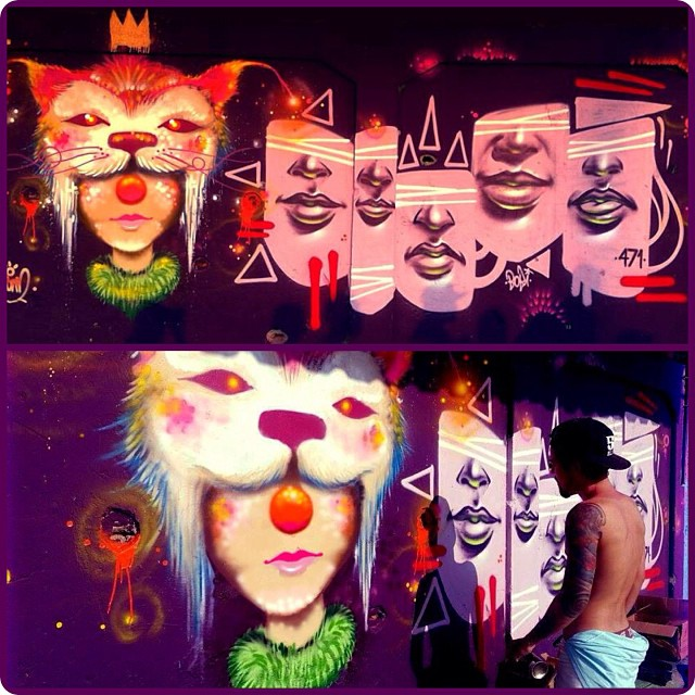 Spam x Bobi - Comunidade Ficap - Jardim América Rj #spam #viniciusspam #face #circus #clown #cat #helmetcat #collors #graff #graffiti #graffitart #instaart #instagrafite #instagraffiti #iloveclowns #whiter #worldart #artrj #artrio #persona #paint #painting #rua #streetart #streetartrio #2014
