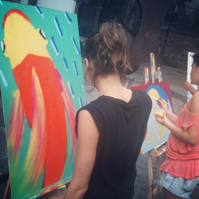 mais uma aula de pintura em spray pelo @polocriativo  #streetartrio