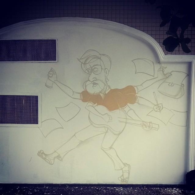 Bom dia! Iniciando os trabalhos, projeto Leminski para o #sesc #caxias #cazesawaya #streetartrio #streetart