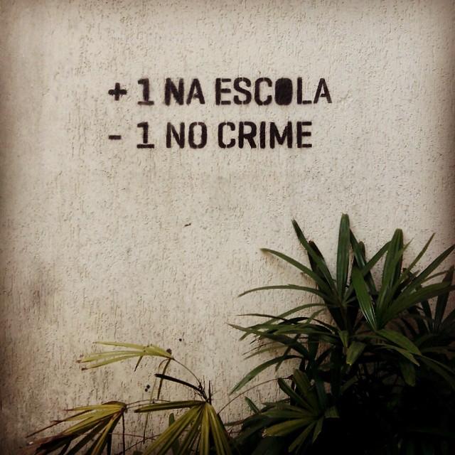 Rio de Janeiro. 18/11/2014 | vandalogy #StreetArtRio #stencil #streetart #escola #crime #riodejaneiro #ipanema #brasil