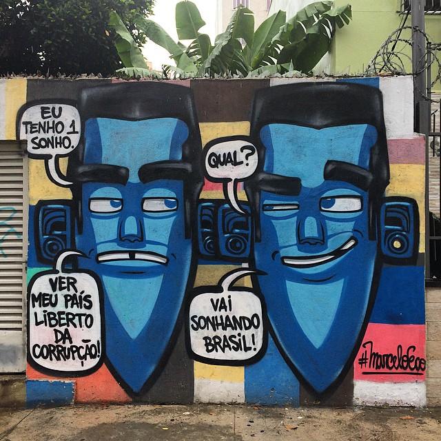 Triste realidade do nosso Brasil. Arte do #MarceloEco na Av. Maracanã - Rio de Janeiro.