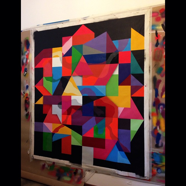 Finalizando || Almost done 150x170cm 2014  #indoor #interior #studio #streetart #streetartrio #urbanart #art #abstract #antihorario #arte #grid #graffiti #geometric #graffitiart #mga #cores #canvas #colors #riodejaneiro #2014