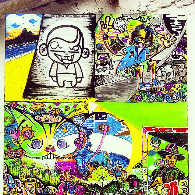 Tela 100/100 em andamento...T.mista #rio #art #artlivre #pintura #tag #legalize #novomundo #sock #xarpi #vandal #bomb #brasil #gatorisonho #psicodelico #caveiras #paz #positividade #street #streetartrio #graffiti @sockppxi