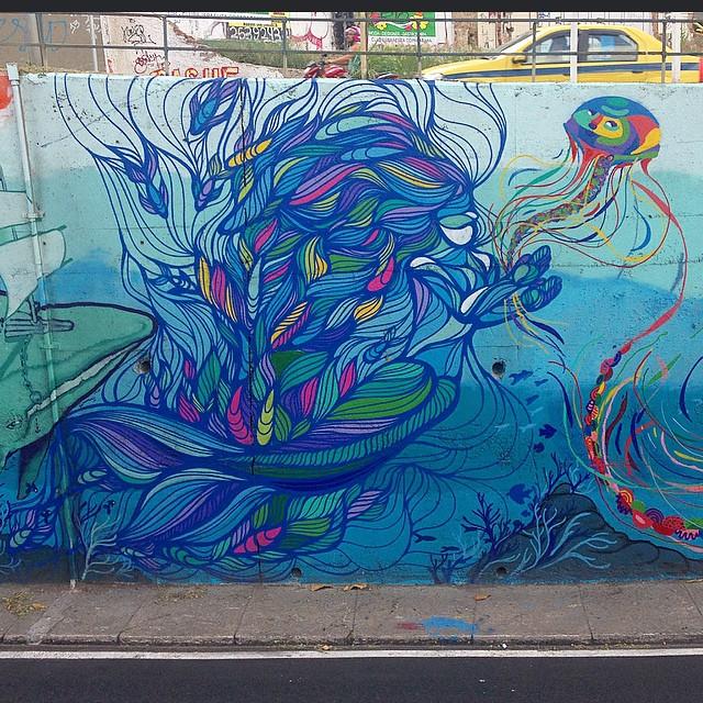 Graffiti feito no Tunel Velho para projeto do @galeriooficial! Na foto interagindo com os feras @leandrotick e @tainancabral ! Muito bom trabalhar com artistas que muito admiro... Curadoria de @carlosbobi e direção artistica de @universoacme!! Tamo junto!!! #streetartrio @instagrafite