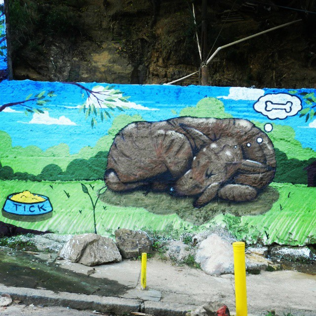 As vezes me sinto com muito sono. #dug #cachorro #sono #tick #dreaming #streetartrio #viralata #spray #graffitiart #muralart