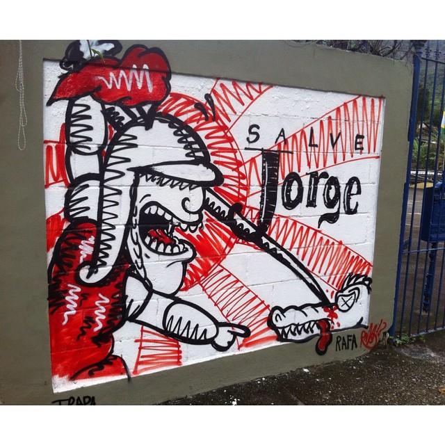 Salve Jorge! #rafa #rafagraffiti #trapacrew #altodaboavista #saojorge #salvejorge #jorge #salveogum #ogum #23 #graffiti #grafite #streetart #streetartrio #mtn #colorgin #lukscolor #furnas #saintgeorge
