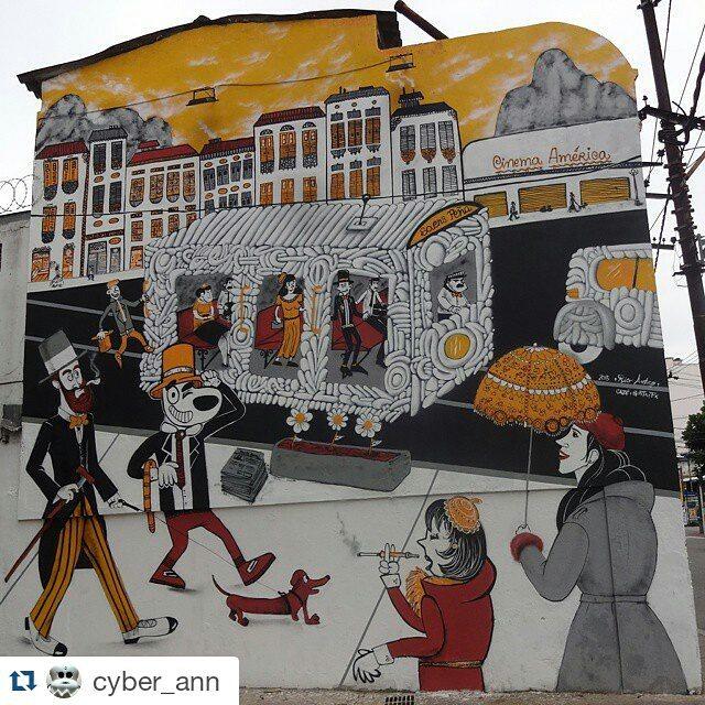 #Repost @cyber_ann ・・・ Graffiti wall by @cazesawaya , @fabiobirita and #efixis . #cazesawaya #fabiobirita #biritaillustration #streetartrio #graffitiart #streetart #artederua #urbanart #arteurbana